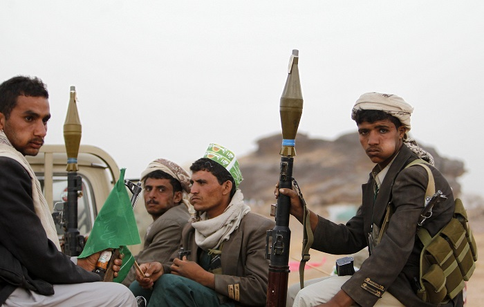 Houthis with weapons