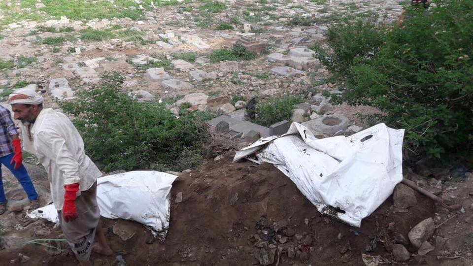 The bodies were exhumed from a cemetery in the Wadi Al-Madam area in the old town