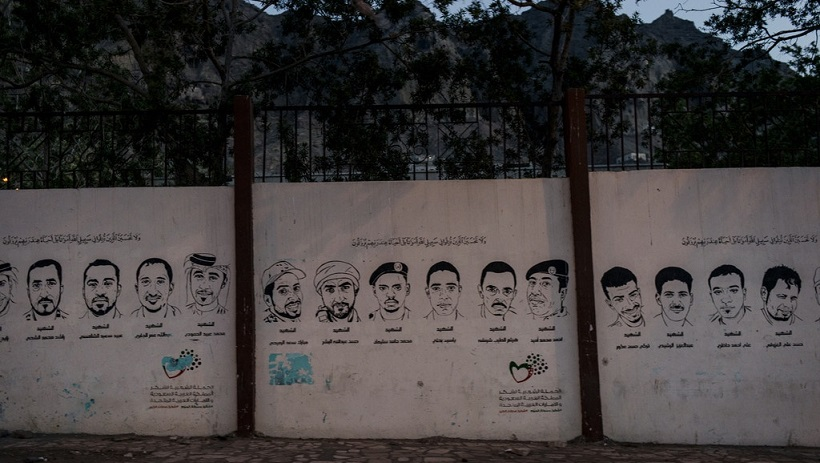Images of Yemenis killed in the 2015 battle against the Houthis are painted on the walls of main streets in Aden, Yemen