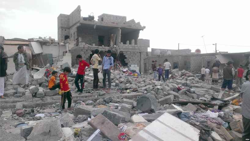 A neighborhood in the Yemeni capital of Sanaa after an airstrike, October 9, 2015. (Wikipedia)