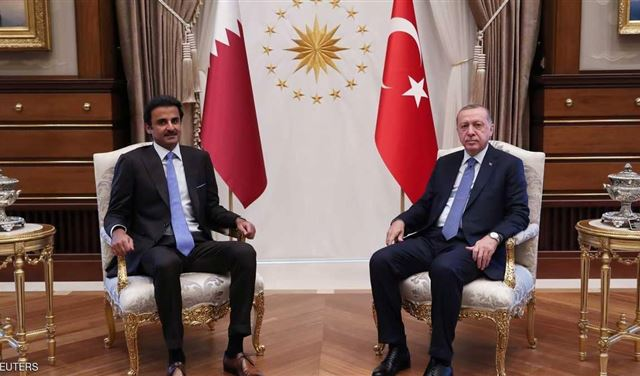 Turkish President Recep Tayyip Erdogan  and Emir of Qatar Sheikh Tamim bin Hamad