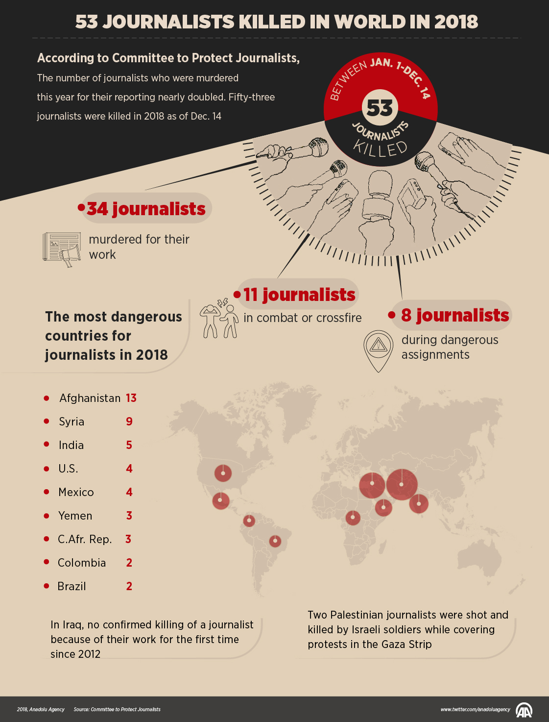 53 Journalists Killed in World in 2018