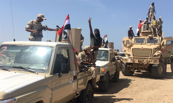 Yemeni government forces in Hodeida