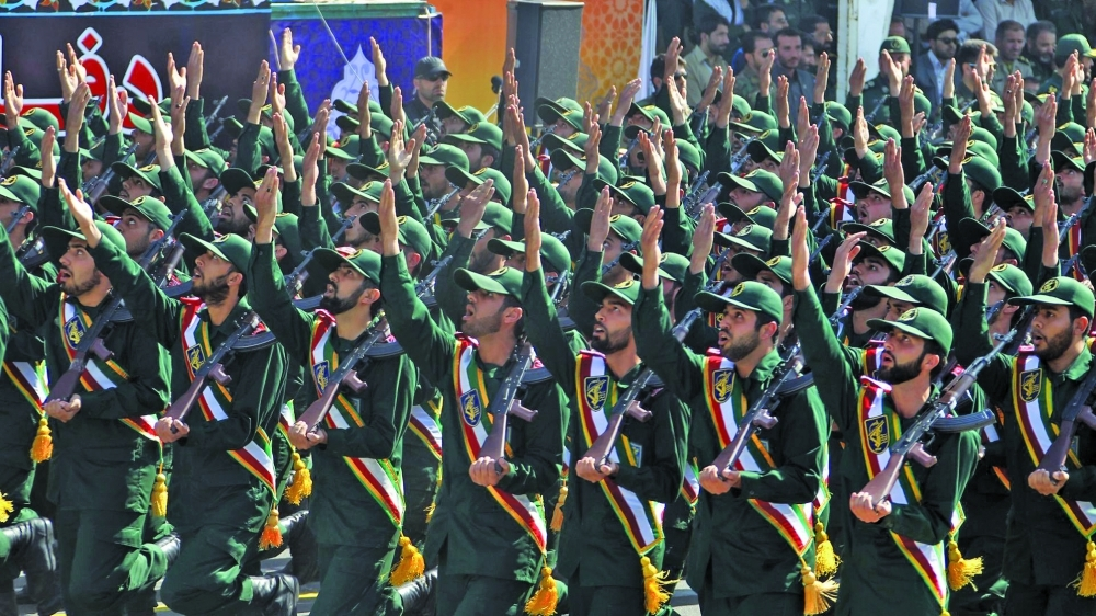Members of Iran's Revolutionary Guards Corps (IRGC) march during a military parade - Archive