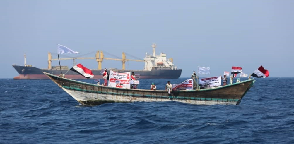 Yemeni fishermen at protest