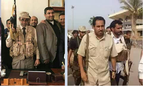 Yemeni rival ministers of sports, Hassan Zaid (right) and Nief al Bakri (left)
