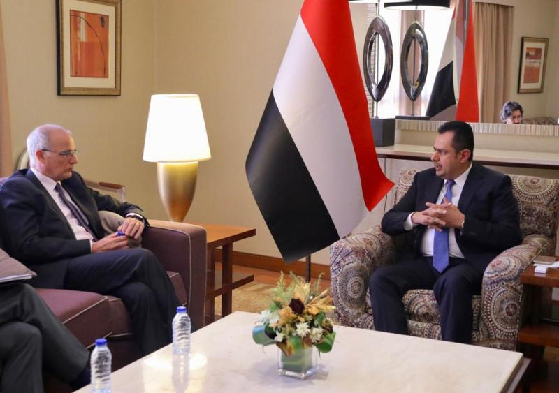 Maeen Abdulmalik during his meeting in Riyadh with British Ambassador to Yemen, Michael Aron