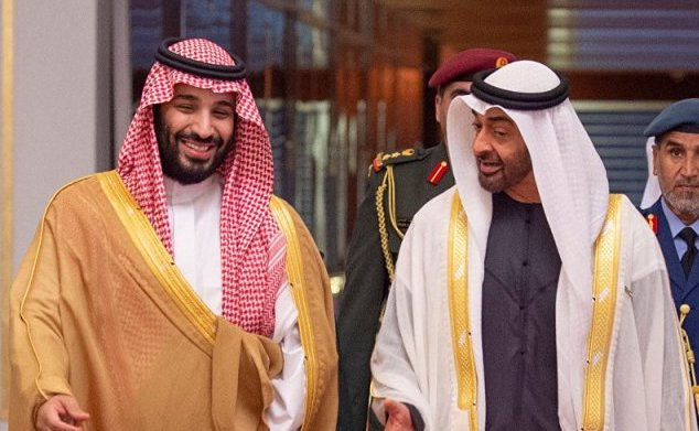 ((Saudi Crown Prince Mohamed Bin Salman and Abu Dhabi Crown Prince Mohamed Bin Zayed))