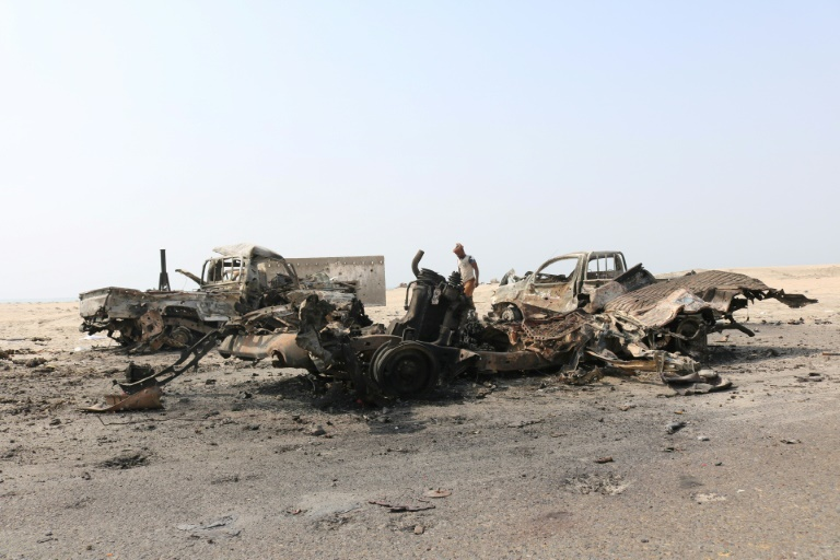 ((Vehicles believed to be of government army burning following UAE airstrikes inAden))