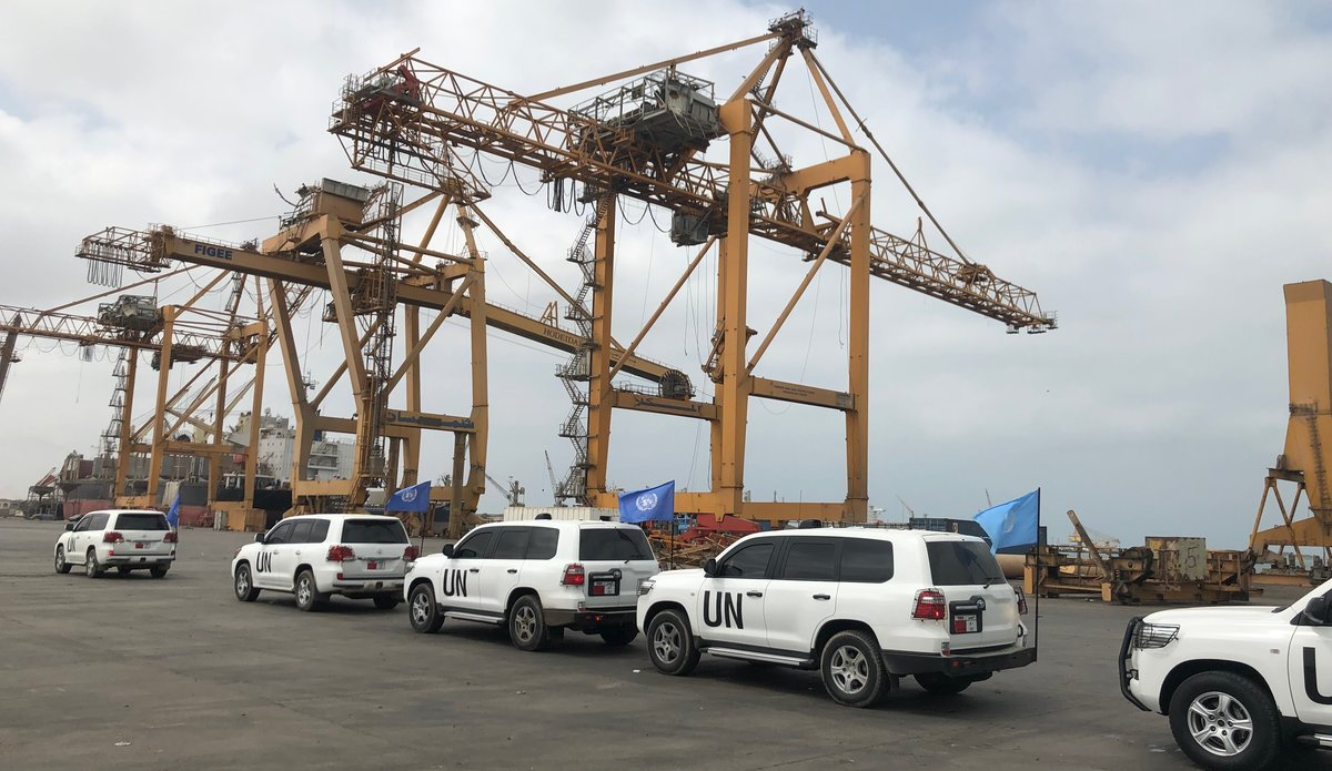 UN teams as monitoring redeployment in Hodeida ports, file