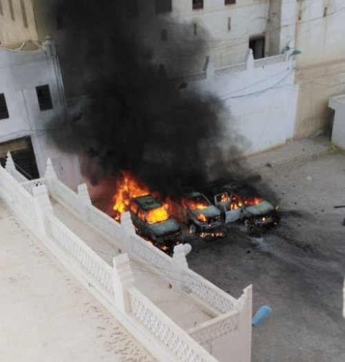 Vehicles burnt by the explosion