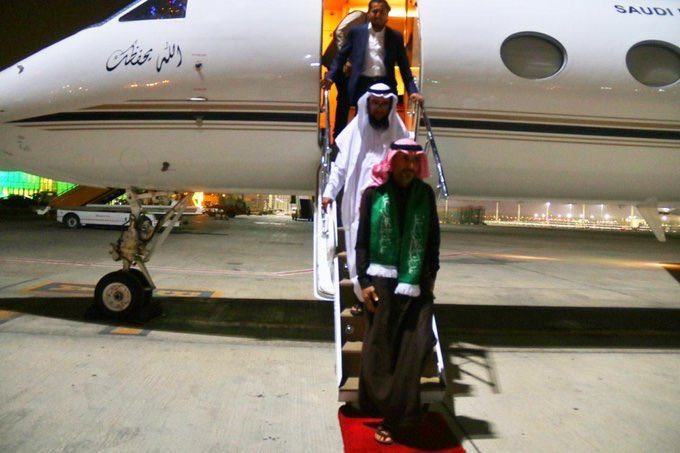 The Saudi Prisoner, Nasser Al-Dharawi, arrives at King Abdulaziz Airport in Jeddah