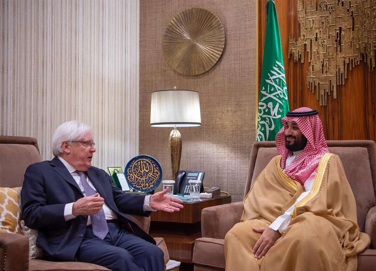 The UN Secretary General's Special Envoy for Yemen Martin Griffiths meets Saudi Crown Prince Mohammed bin Salman