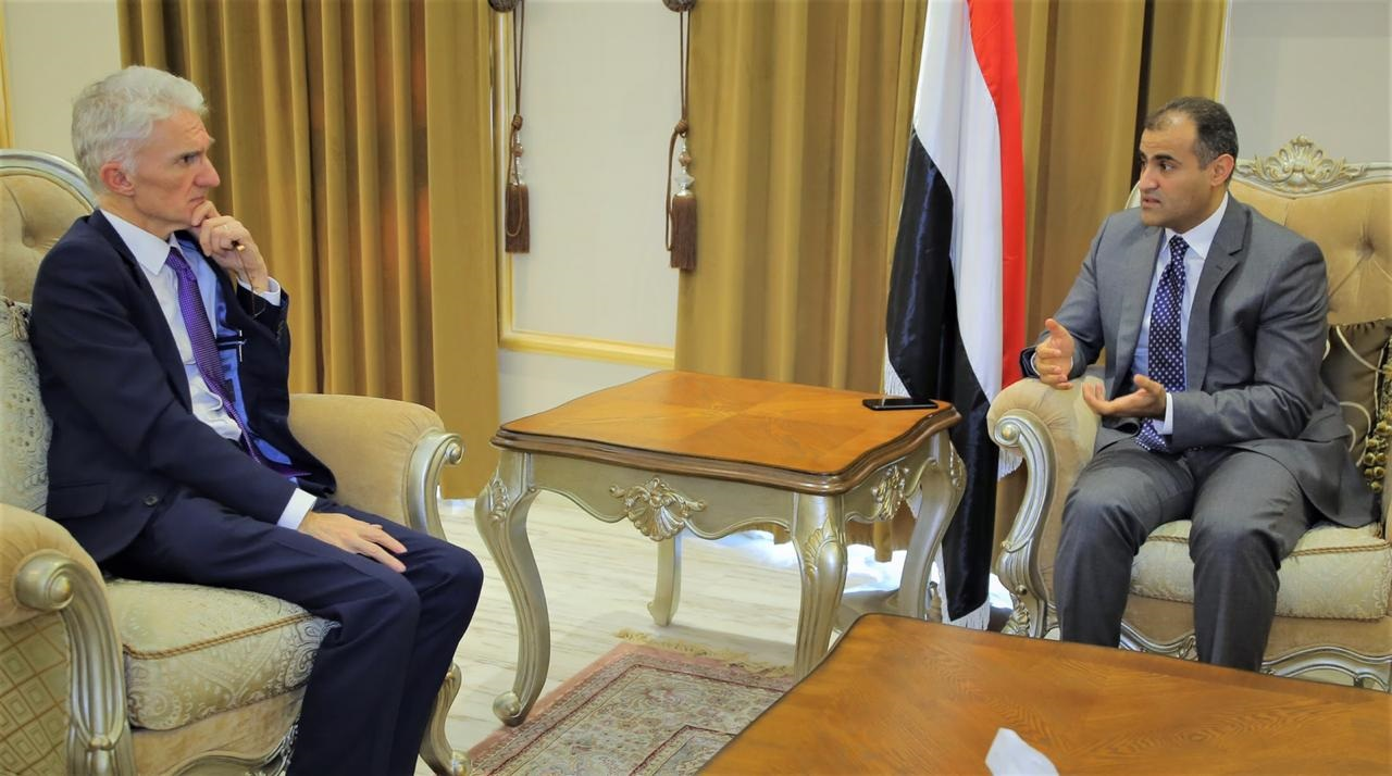 Foreign Minister Abdullah Al-Hadrami meets in Riyadh, UN Under-Secretary-General for Humanitarian Affairs and Emergency Relief Coordinator, Mark Lowcock