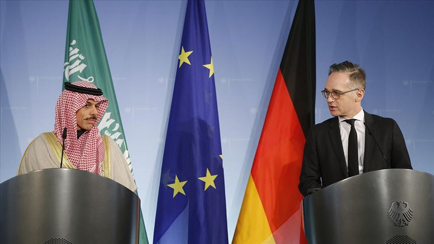 German Foreign Minister and his Saudi counterpart during a press conference in Berlin Friday