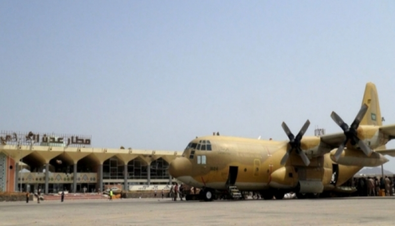 A Saudi military plane at Aden airport in southern Yemen