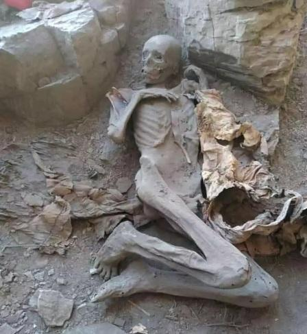 A mummy which Yemeni archaeologists say is believed to be a Himyarite king who lived 2.500 years ago